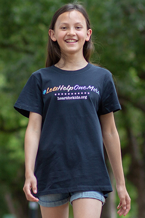 Girl in navy T with multicolour wording