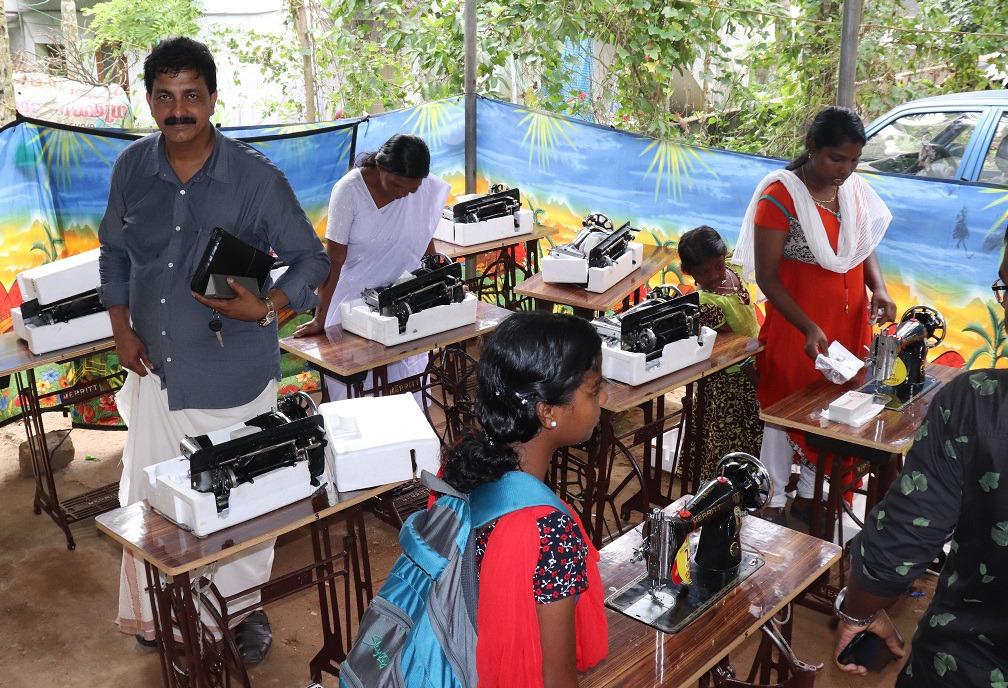 Women learning sewing